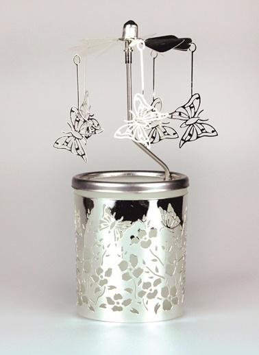Dünya Style Kelebek Desenli Cam Carousel Tealight Mumluk Renkli
